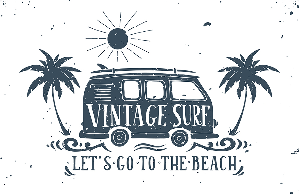 Vintage summer surf print with a mini van, palm trees and letter